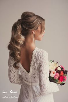 Свадебные прически hairdo wedding, wedding hairstyles long hair, wedding hair for guests, ponytail Romantic Wedding Hair, Long Hair Wedding Styles, Wedding Hairstyles For Long Hair, Party Hairstyles, Trendy Hairstyles, Long Hair Styles, Bridal Hairstyles, Trendy Wedding, Hairstyle Ideas