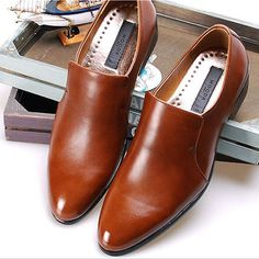 New Handmade Mens Leather Dress Formal Brown Shoes Loafers Slip On Casual #Mooda #LoafersSlipOns