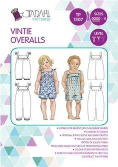 PATTERN Vintie Overalls PDF Sewing Pattern by TadahPatterns