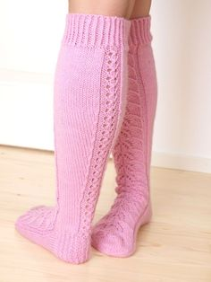 The story of these socks begins when Elina asked her to knit her Pink . Crochet Socks, Knit Mittens, Knit Crochet, Lace Knitting, Knitting Socks, Knitting Patterns Free, Free Pattern, Knit Stockings, Wool Socks