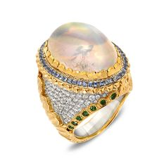 By Victor Velyan - R305MS - A Ring with Cabochon Moonstone, Tsavorites, Blue Sapphires & Diamonds, 18K & 24K gold ♥༺❤༻♥