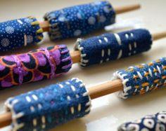 12 Hand Stitched Fabric Beads Fiber Art Jewelry, Textile Jewelry, Fabric Jewelry, Beaded Jewelry, Jewellery, Textile Art, Fabric Beads, Paper Beads, Fabric Scraps