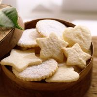 Sugar Cookies 1C Gran Sugar 1/2C powdered add almond extract PERFECT shapes needs icing