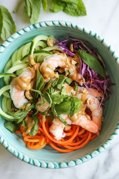 Forget Smoothie Bowls—Spring Roll Bowls Are The New Clean Food Obsession : Spiralized Summer Roll Bowls with Hoisin Peanut Sauce Clean Recipes, Cooking Recipes, Healthy Recipes, Clean Foods, Delicious Recipes, Vegetarian Recipes, Clean Eating, Healthy Eating, Summer Rolls