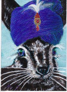 ACEO 2.5x3.5 Rabbit Hare Turban Fantasy hat NFAC Avanti Original Painting OOAK #Realism by Michele Avanti