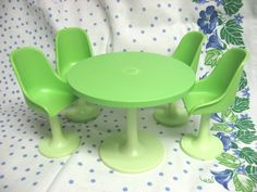 Barbie-Sized Dining Table and Chairs from the Wolverine Kitchen Set, 1970's