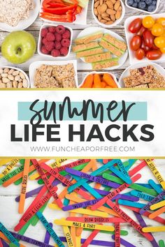 Use these summer life hacks and help those long summer days to run much smoother at home. Be more prepared for the fun times as well as keeping things productive around the house. Summer Fun, Summer Time, Summer Days, Summer Snacks, Chore Sticks, Summer Life Hacks, Abc Mouse, Planner Tips, Lunch To Go