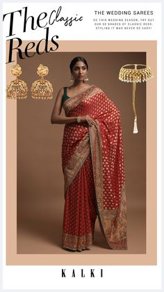 Scarlet red banarasi saree in georgette with weaved buttis. Border and pallu adorned with weaved ethnic floral pattern along with gotta patches, pearls, cut dana and green thread work. Teamed with a matching zari weaved unstitched blouse in georgette. The length of the blouse is 0.87 meters. Banarasi Sarees, Thread Work, Saree Dress, Red Fabric, Fashion Heels, Wedding Outfits, Saree Blouse Designs, Saree Wedding, Indian Outfits