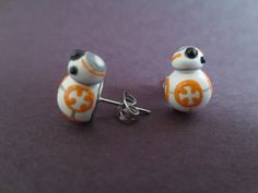 Polymer Clay BB-8 Earrings MismatchedMinis https://www.etsy.com/listing/264402258/polymer-clay-bb-8-earrings