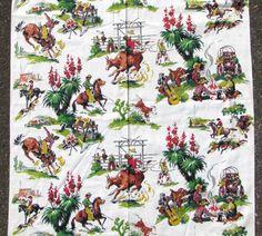 Vintage Cowboy Western Barkcloth