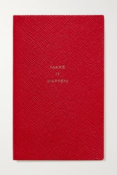 Red textured-leather (Sheep) Comes in a blue presentation box Made in the UK Smythson, Make It Happen, Leather Notebook, About Uk, Grosgrain, Texture, Shit Happens, Red, Panama