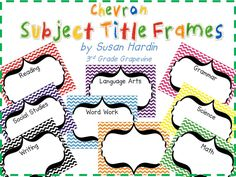 $  Chevron is the BIG HIT this year!  Jump on board with these great Chevron Subject Title Frames.  They are perfect for framing or laminating and using to display your EQs or standards.  They make an impressive display hanging altogether!  www.3rdgradegrapevine.blogspot.com