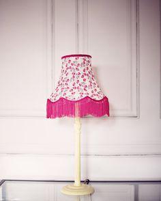 Vintage Lighting, spring lampshade, liberty fabric lamp, fringe lampshade, vintage lamp shades, pink vintage decor, vintage home decor