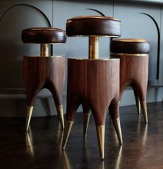 David Cruz leather Molar barstools