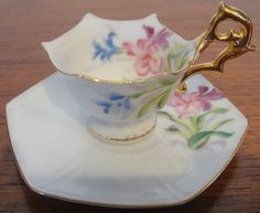 1945 Occupied Japan Hand Painted Miniature Cup and Saucer