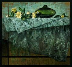 "Bruno Capolongo""Still Life in Green, Black and Gold: enc on panel 16x16"" WOW!!"