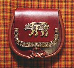 Scottish Sporran leather pouch with celtic bear emblem Bear Totem, Spirit Bear, Belt Pouch, Bear Art, Leather Pouch, Celtic Knot, Disneybound, Tartan, Plaid