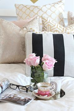 I love breakfast in bed. I can look at my color changes, well, they are all black and white......