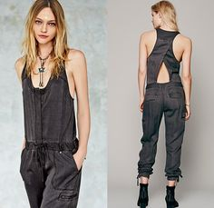 (10) Roaring Rayon Jumpsuit Slouchy Utilitarian One Piece Coveralls Crossover Back - Free People 2014 January Womens Catalog Sneak Peek - 20...