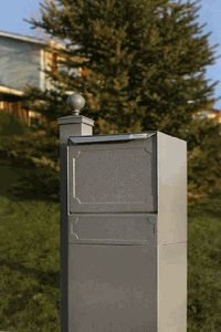 High Security Package Delivery Locking Parcel Mailbox with Post Option - Gray Package Mailbox, Package Box, Deck Yard Ideas, Mail Drop Box, Brick Mailbox, Residential Mailboxes, Parcel Box, Package Delivery, Mail Boxes