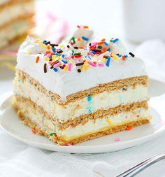 ***Birthday Cake Lasagna (No Bake) ~ seriously decadent treat. perfect for a special birthday celebration! Best Birthday Cake Recipe, Cool Birthday Cakes, Birthday Desserts, Instant Pudding, Köstliche Desserts, Delicious Desserts, Layered Desserts, Cake Recipes, Dessert Recipes
