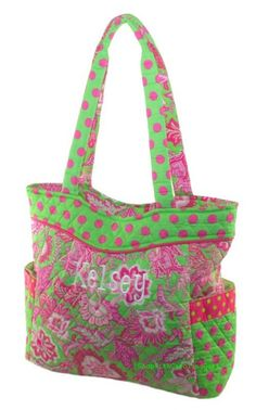 Paisley Quilted Polka Dot Bag- Lime Green and Hot Pink Free Embroidery  • Zipper Closure • Monogrammable • Open Pocket on both sides • Zippered Pockets Inside • Zipper Closure • 16.5(L) x 12.5(H) x 5.5(W) Pictured: Tipsy font (no longer available)  Select the following from the drop down menus: * Your Font Choice * Your choice of thread color  When you check out, please make sure to leave me the following in notes section:  * Personalization details - 1- 3 initials or a name. Show initials…
