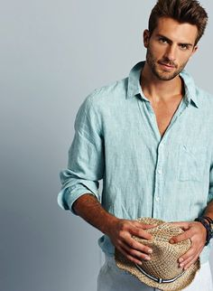 d2f88aa9 Rafael Lazzini: Love the color of this linen shirt, perfect for summer,  men's style, awesome hair and beard too.