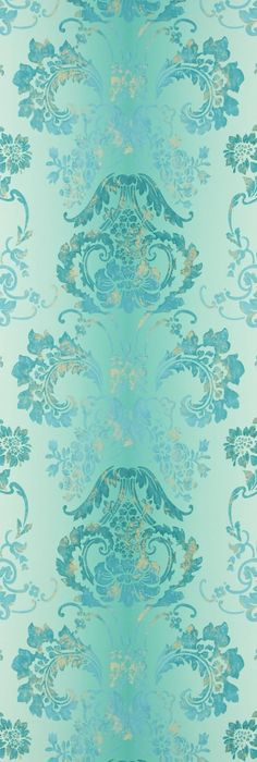 F & P.  /Kashgar Wallpaper A traditional damask shaded wallpaper in jade with a contemporary metallic detail.