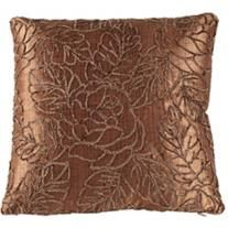 "Designer Brown Silk Road 18"" Square Floral Throw Pillow"
