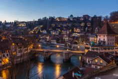 Night View of Bern and Aare River