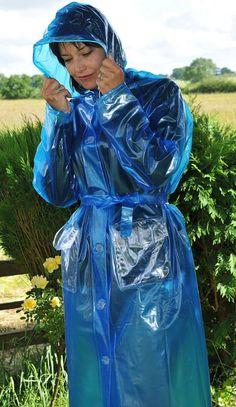 Blue Raincoat, Pvc Raincoat, Plastic Raincoat, Plastic Pants, Plastic Mac, Bronze, Rain Wear, Mannequin, Kinky