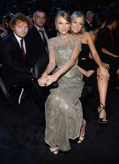 Taylor Swift hung with Ed Sheeran and a friend at the Grammys