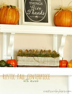 Simple Rustic Fall Centerpiece with acorns- easy fall decor!