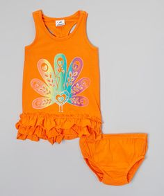 Look what I found on #zulily! Orange Ruffle Dress & Bloomers - Girls #zulilyfinds