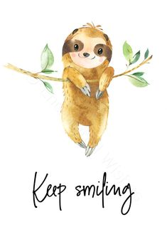 Sloth Quotes Printable Prints Set of 3 - Sloth Pictures Wall Art - Printable Wall Art - Rice&Caricature Cute Baby Sloths, Cute Sloth, Animal Drawings, Cute Drawings, Smiling Sloth, Baby Animals, Cute Animals, Baby Giraffes, Wild Animals
