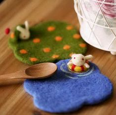 Navy Blue and Army Green Orange Dot with Swimming Rabbit Bunny Coaster Cupmat, Felt Wool Material, Felting Kit Material DIY,2pc on Etsy, $12.98