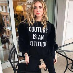 Couture is an attitude! Chiara Ferragni wearing Moschino FW17 #rataporter capsule collection