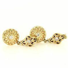 Vintage 14 Karat Yellow Gold Diamond Dangle Drop Earrings Fine Estate Jewelry $795