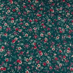 Vintage Polished Cotton Fabric, Calico in Hunter Green, Red & White, BTHY | Crafts, Fabric | eBay!
