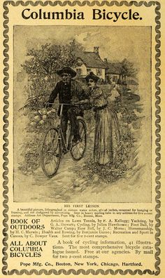 Columbia Bicycles - His First Lesson  1893