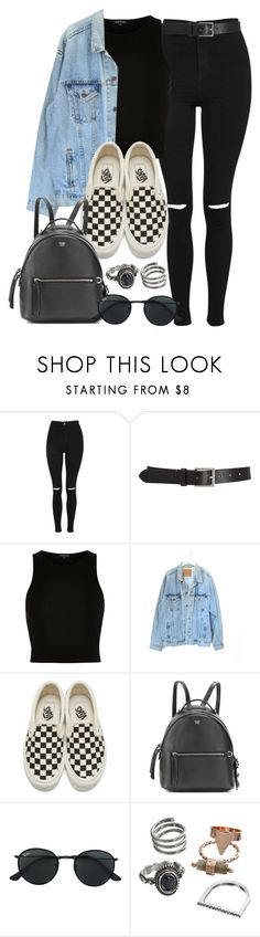 """#14141"" by vany-alvarado ❤ liked on Polyvore featuring Topshop, Barneys New York, River Island, Levi's, Vans, Fendi, Ray-Ban and Mudd"