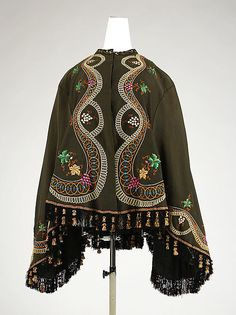 Wool mantle with silk embroidery late 1860's
