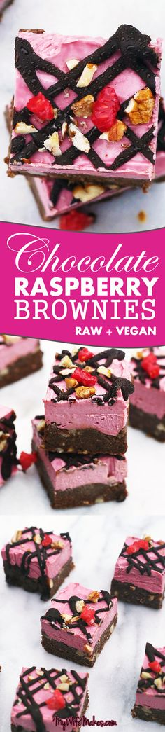 Raw Chocolate Raspberry Brownies made up of a raw chocolate brownie base, filled with delicious nuts, and topped with creamy raw raspberry cheesecake. Yummy in the tummy! #raw #vegan #brownies #brownie #raspberry #chocolate #nuts