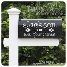 Vinyl Mailbox Lettering Decoration Decal Sticker X2 For Each Side #D28