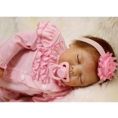 117.99$  Buy now - http://alisoa.worldwells.pw/go.php?t=32791721352 - 50-55CM Silicone Doll Reborn Baby girl realistic Handmade Cloth Body Reborn Babies Pink Toys Baby Growth Partners Best kids Gift 117.99$