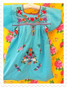 el cielo turquoise  embroidered mexican tunic baby dress