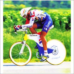 Miguel Indurain at the Le Dauphiné Libéré in 1996 on the now banned Espada. Indurain is one of the cycling greats and was the first rider to win 5 consecutive Tour de France titles. Picture was taken by Phil O'Connor and comes courtesy of Prendas.