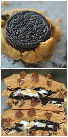 Peanut Butter Cookies Stuffed with Oreos - Hugs and Cookies XOXO