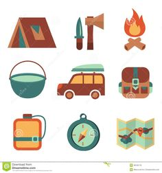 camping symbols free vintage pictures | Outdoors Tourism Camping Flat Icons Set Royalty Free Stock Photos ...