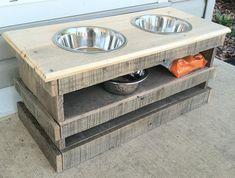 Raised pallet dog bowl feeding stand storage unit by Kustomwood, $69.99